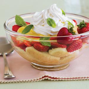 Mint Tea Trifle with Strawberries
