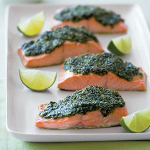 Salmon with Cilantro Pesto
