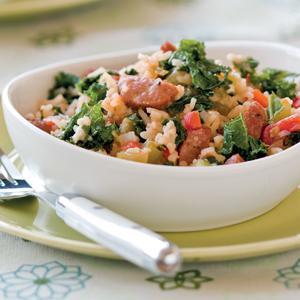 Cajun Kale, Sausages, and Rice