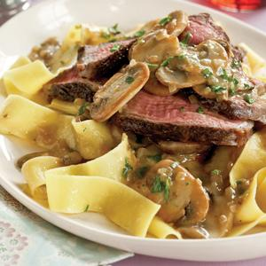 Pan Seared Steak with Mushroom Brandy Sauce