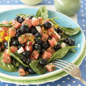 Blueberry Spinach Salad with Ginger Dressing