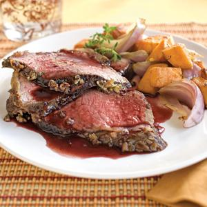 Garlic and Thyme Roast Beef with Port Jus