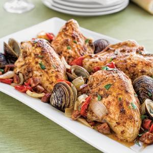 Roasted Chicken with Chorizo, Peppers, and Clams