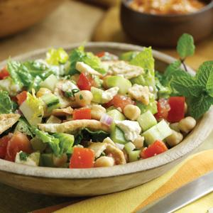Fattoush Salad with Chickpeas and Feta