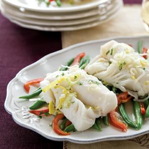 Chardonnay Poached Cod w/Green Bean and Sweet Pepper Saute