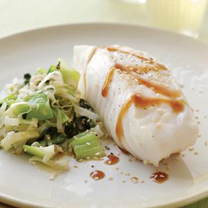 Poached Hake with Sesame Bok Choy