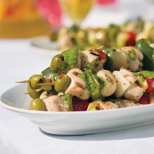 Mediterranean Chicken Kabobs with Fresh Herb Sauce
