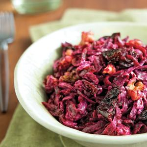 Russian Shredded Beets with Walnuts and Dried Plums