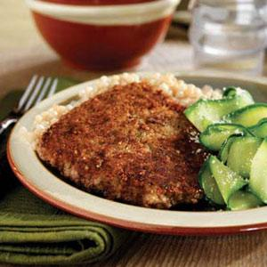 Parmesan-Crusted Cubed Steaks with Zucchini Ribbons