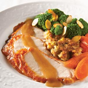 Golden Roast Turkey with Apple Stuffing and Gravy