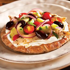 Chicken Souvlaki with Tomato and Red Onion Salad