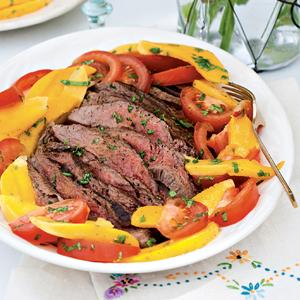 Flank Steak with Tomato-Mango Salad
