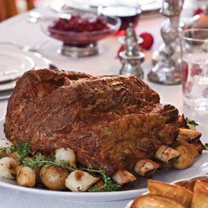Holiday Standing Rib Roast with Yorkshire Pudding