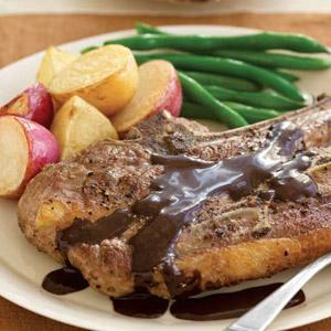Pepper-Crusted Lamb Chops with Chocolate Port Sauce