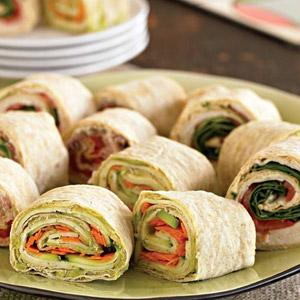 Hummus and Turkey Game Night Roll-Ups