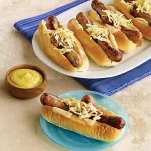 Graduation Day Grilled Brats with Swiss Cheese and Slaw