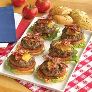 July 4th Bacon-Cheddar Burgers and Quarter Pound Veggie-Cheddar Burgers