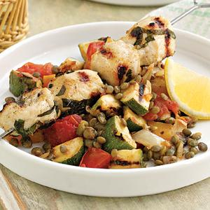 Grilled Chicken Skewers with Lentil Ratatouille