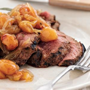 Grilled Tri Tip Steak with Rainier Cherry Agrodolce