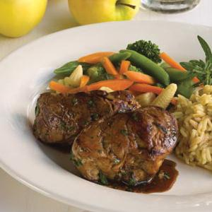 Pork with Balsamic Pan Sauce, Rice Pilaf and Vegetables
