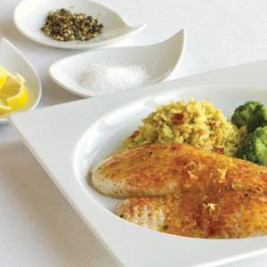 Lemony Tilapia with Rice Pilaf & Broccoli