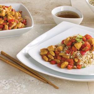 Peanut Chicken Stir-Fry and Brown Rice