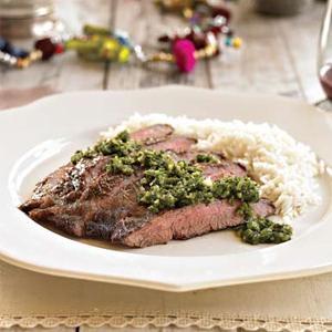 Flank Steak with Fresh Mint Chutney