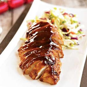 Chinese Barbecued Chicken with Cucumber Slaw