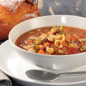Minestrone with Roasted Vegetables and Whole-Grain Pasta