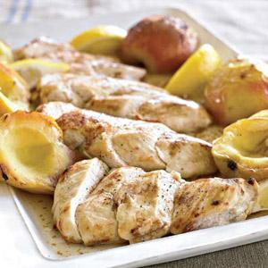 Chicken and Apple Halves with Cider-Cinnamon Sauce