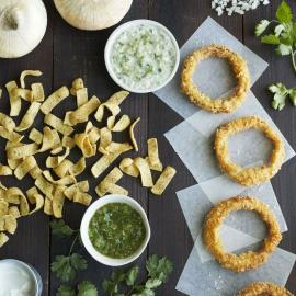 Tortilla Chip-Crusted Vidalia Onion Rings with Creamy Salsa Verde