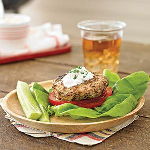 Greek-Inspired Chicken Patties with Feta Sauce