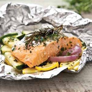 Salmon Packets with Parsley, Rosemary, and Thyme
