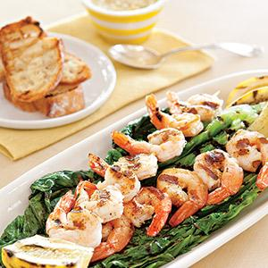 Grilled Caesar Salad with Lemon-Garlic Shrimp