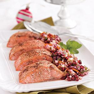 Roasted Salmon with Pomegranate Salsa