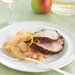 Tea-Rubbed Pork Tenderloin with Black Tea Pear Sauce