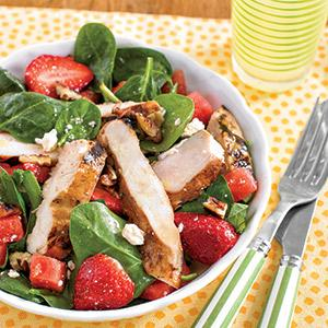 Strawberry-Sriracha Grilled Chicken with Strawberry-Melon Salad