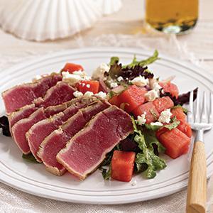 Grilled Tuna Steaks with Watermelon-Feta Salad