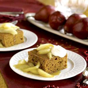 Gingerbread with Caramelized Pears