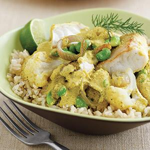 Tilapia, Edamame, and Cauliflower Curry