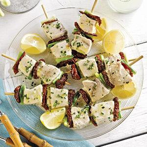 Swordfish-Scallion Skewers
