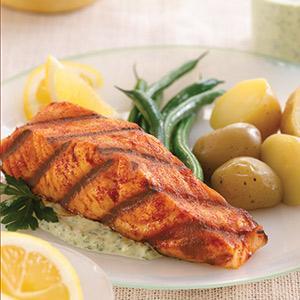 Grilled Salmon with Green Beans, Potatoes, and Lemon-Parsley Sauce