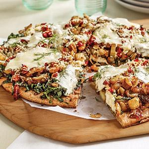 Caramelized Fennel And Onion Pizza With Swiss Chard