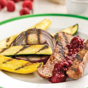 Grilled Chicken Sausages with Raspberry-Ginger Relish