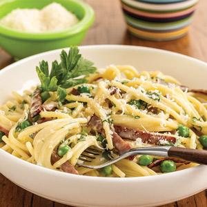 Pasta Carbonara with Turkey Bacon and Peas