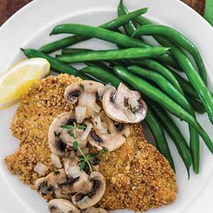 Toasted Almond Chicken with Lemon-Thyme Mushrooms