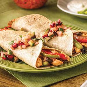 Turkey Fajitas with Cranberry, Apple, and Jalapeno Salsa