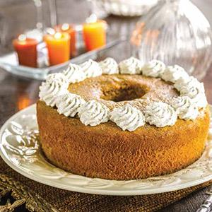 Pumpkin Chiffon Cake with Cardamom Whipped Cream