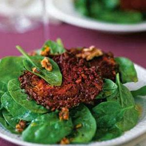 Beet-Walnut Latkes with Goat Cheese