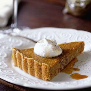 Maple Pumpkin Tart with Cinnamon Shortbread Crust